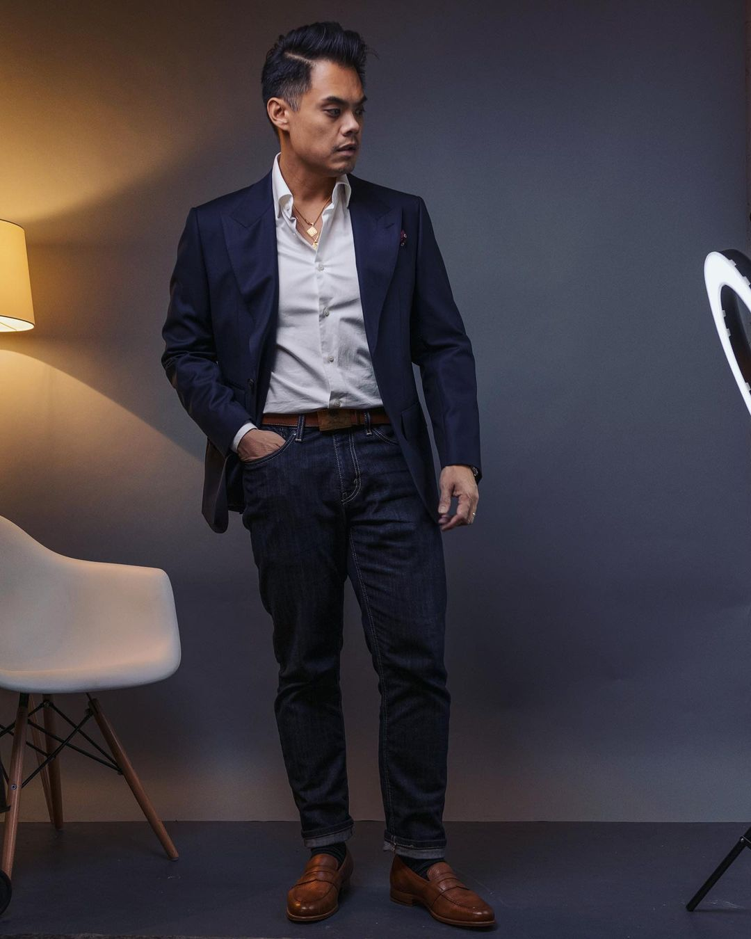 navy sport coat with white shirt and jeans