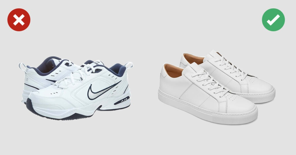 examples of sneaker style no and yes