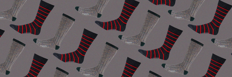 stripe socks and wool speckle socks