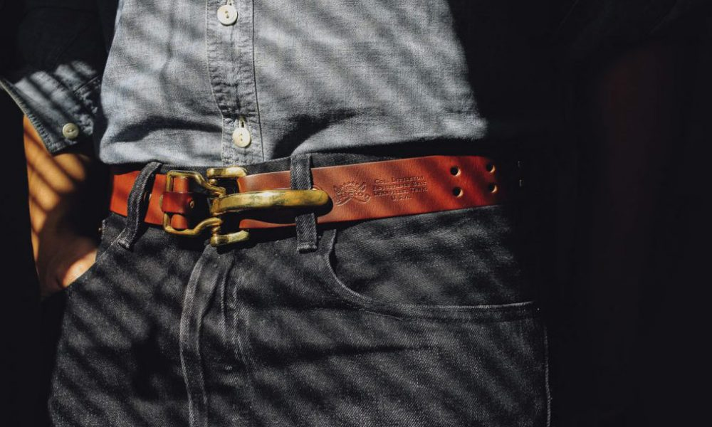 brown belt with jeans and chambray