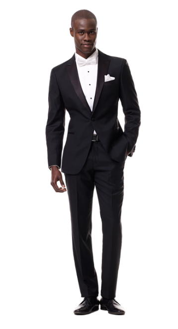 one button black peak lapel tux, black lapel