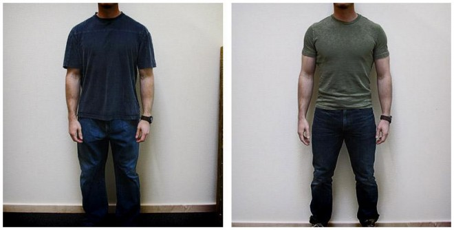 The (noticeable) difference in sizing when a man is more muscular. (via Scrawny to Brawny)