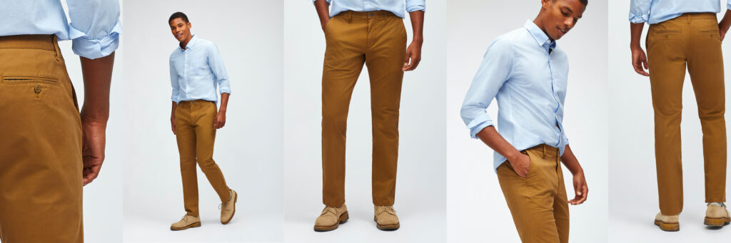 man wearing tan khaki chinos and light blue button up shirt