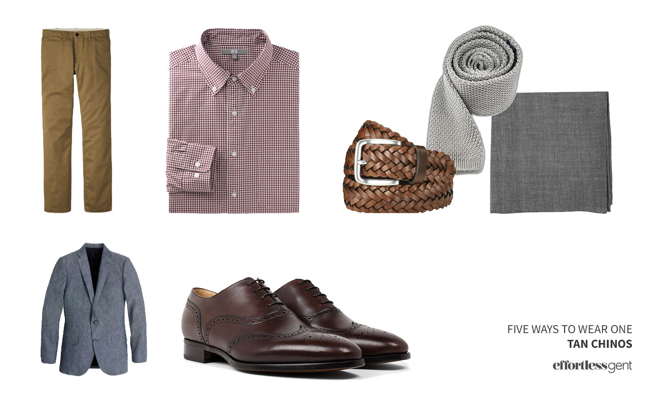 flatlay outfit with burgundy check shirt khaki pants, brown belt, and grey tie