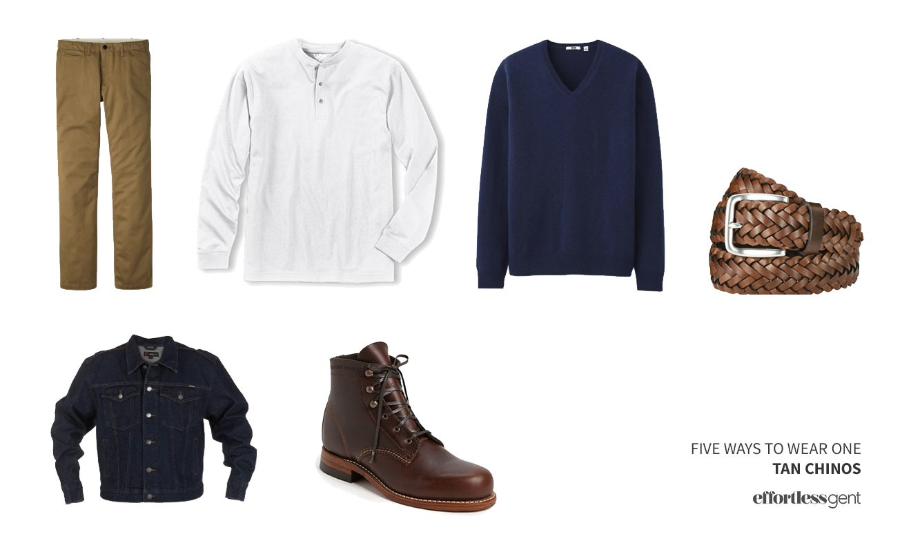 cold weather outfit with tan chinos, white henley, navy sweater, and denim jacket