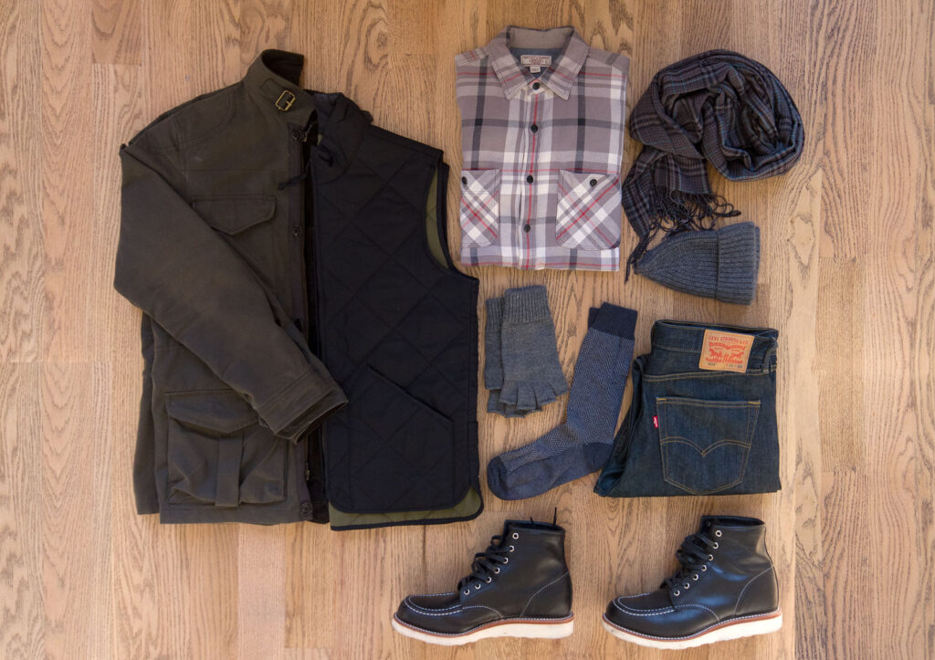 flatlay image of fall and winter appropriate mens clothing