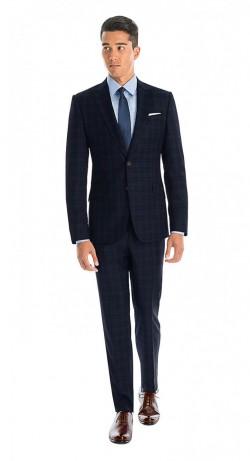 black lapel navy plaid suit