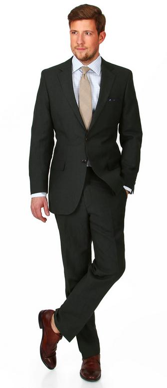 Oliver Wicks Olive Wool Linen Suit