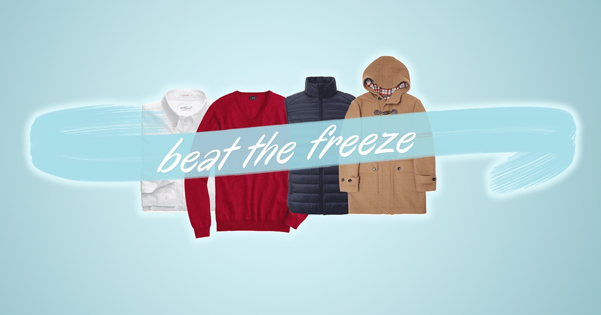 mens clothing on a blue background with text over it saying beat the freeze