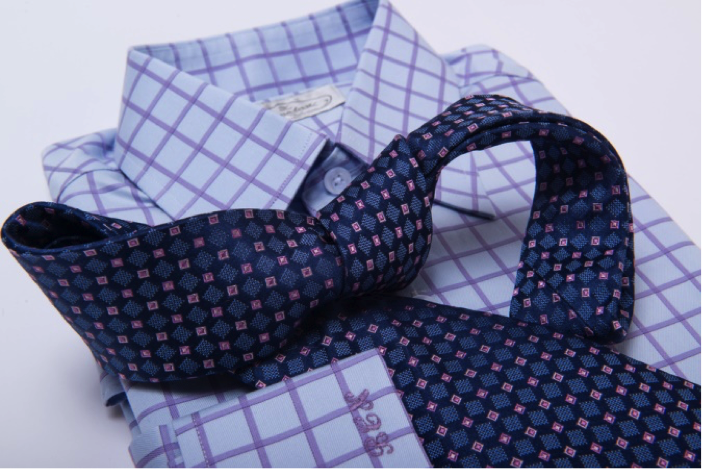 The Dark Knot's Dorset Squares Blue w/ Pink Tie