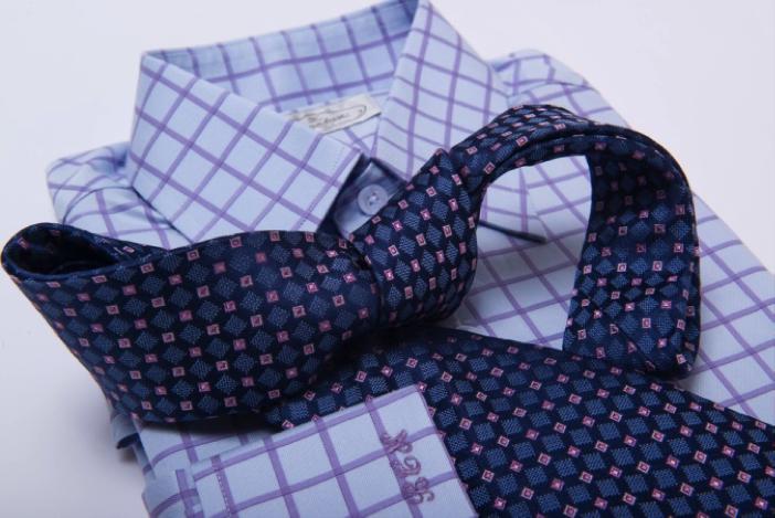 The Dark Knot's Dorset Squares Blue w/ Pink Tie