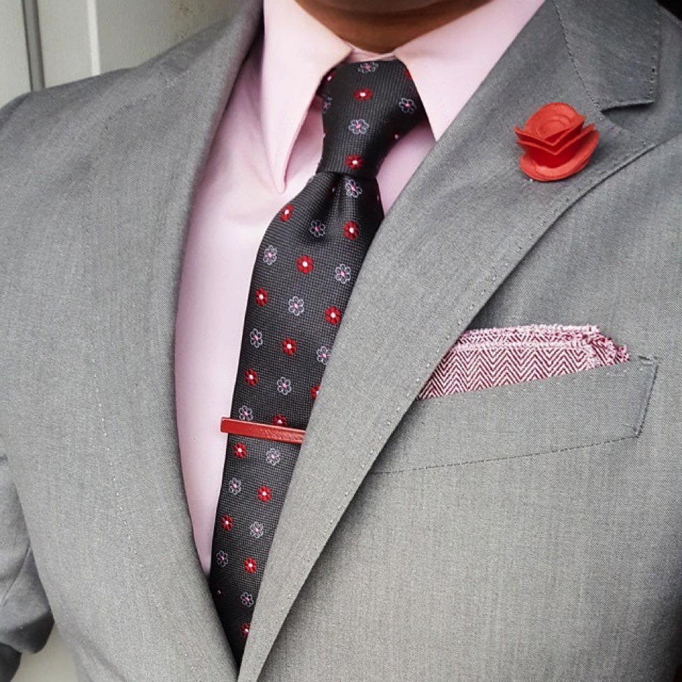e5d142c5e8 the Dark knot ties guest post on effortless gent. The Dark Knot's Berkshire  Abstract Grey w/ Red Silk Tie against a solid light pink shirt.