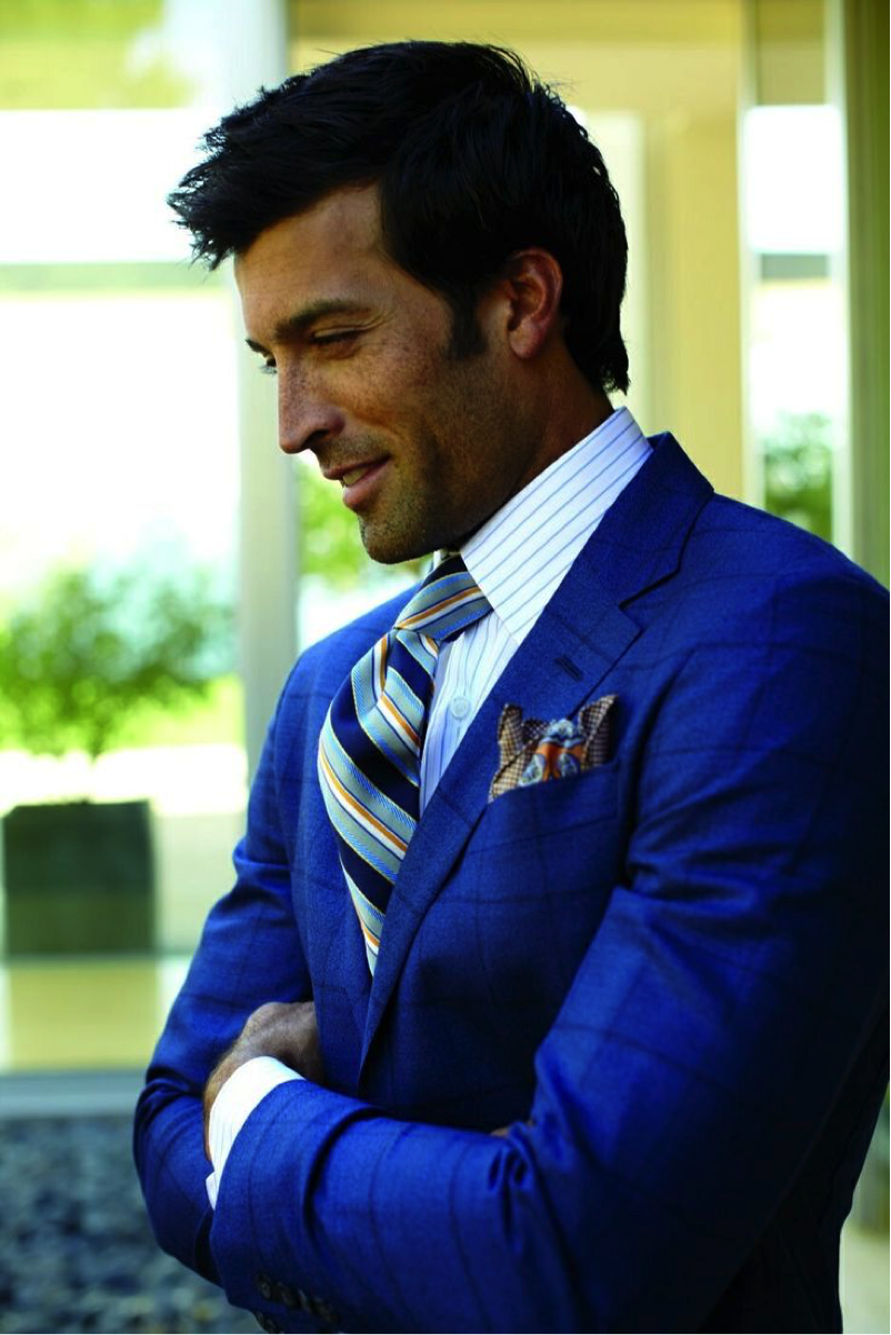 wide striped tie against a narrow striped shirt