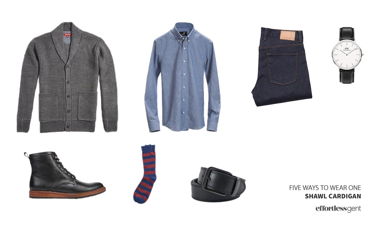 Five Ways To Wear a Shawl Collar Cardigan - How To Wear a Cardigan
