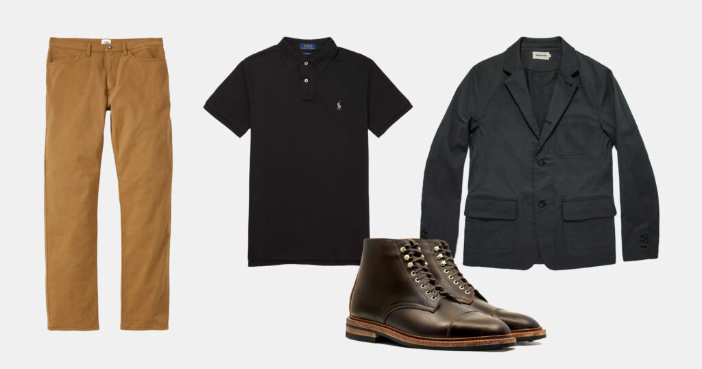 outfit flatlay tan pants, black polo, black jacket, brown boots