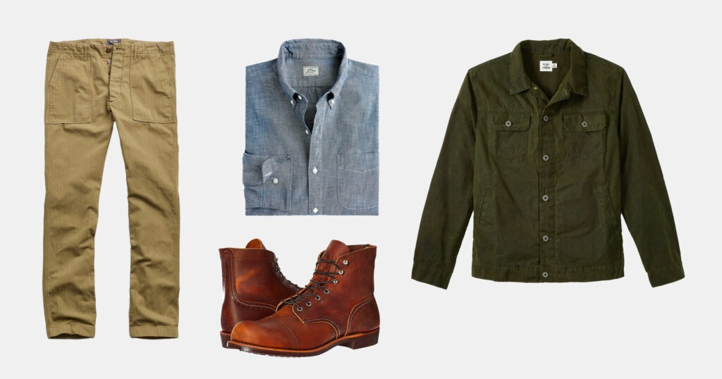 outfit flatlay tan pants, blue shirt, brown boots, army green jacket