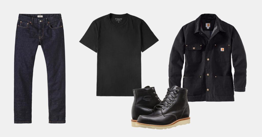 outfit flatlay dark denim jeans, black t shirt, black boots, black jacket