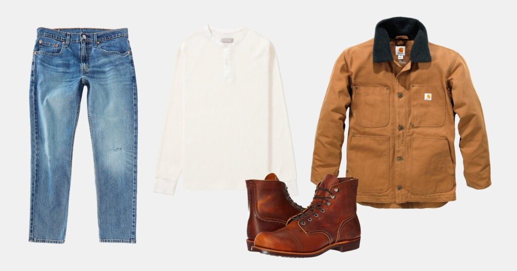 outfit flatlay - light denim, off white henley, tan jacket, brown boots