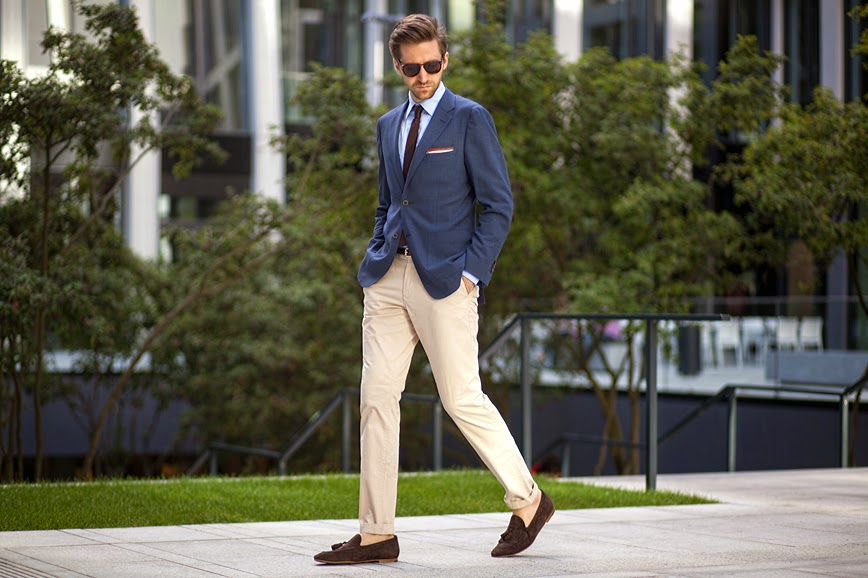 chinos and navy blazer - effortlessgent