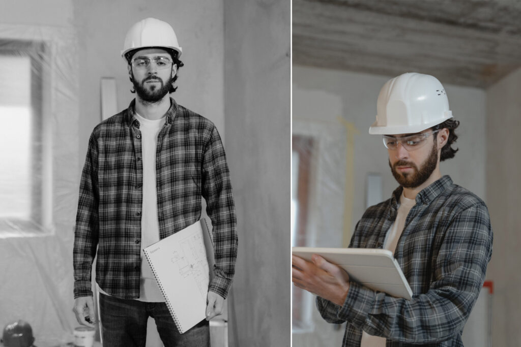 profile of construction project manager wearing plaid shirt and hard hat