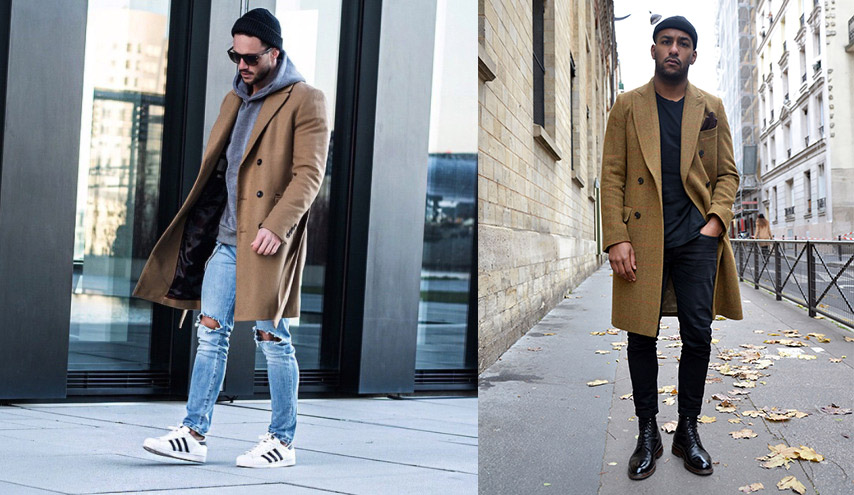 three outfit tweaks casual topcoat jeans