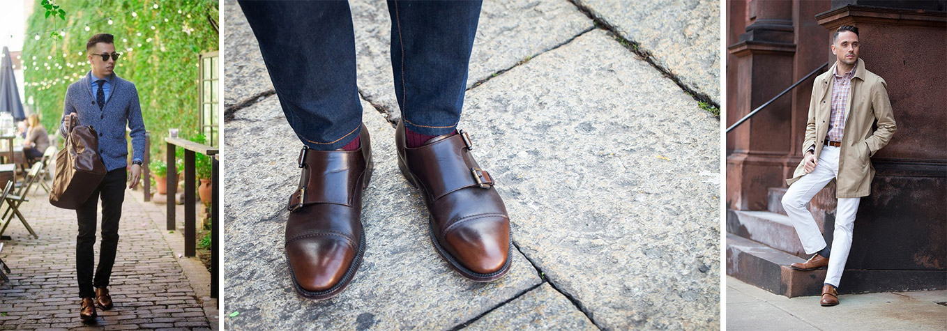 double monkstrap shoes with jeans