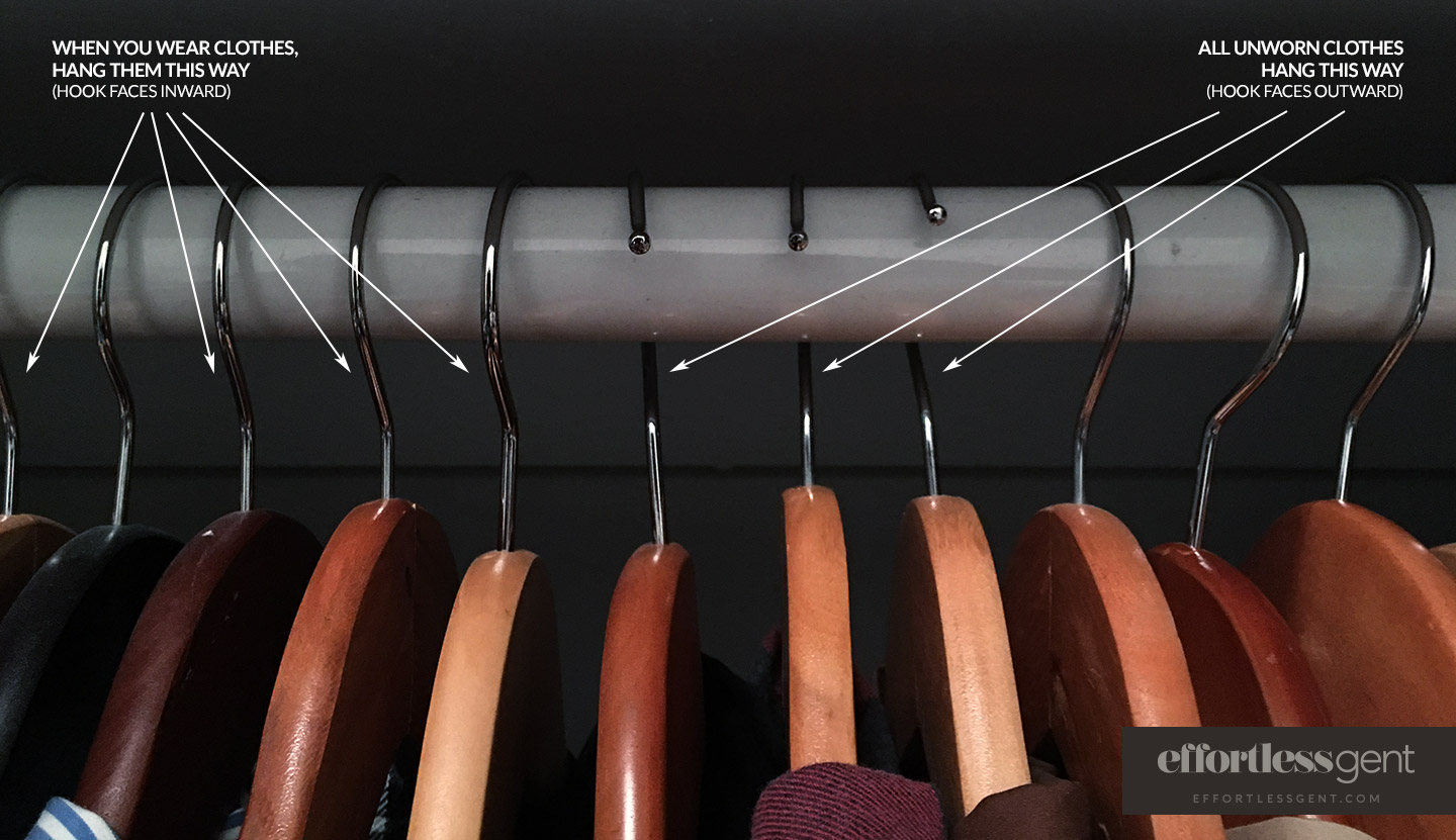 clearing out closet hanger hack