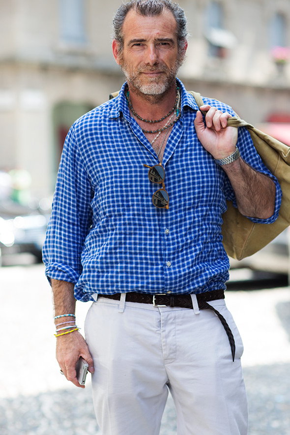 alessandro squarzi wearing blue check shirt and chinos with colorful accessories for men