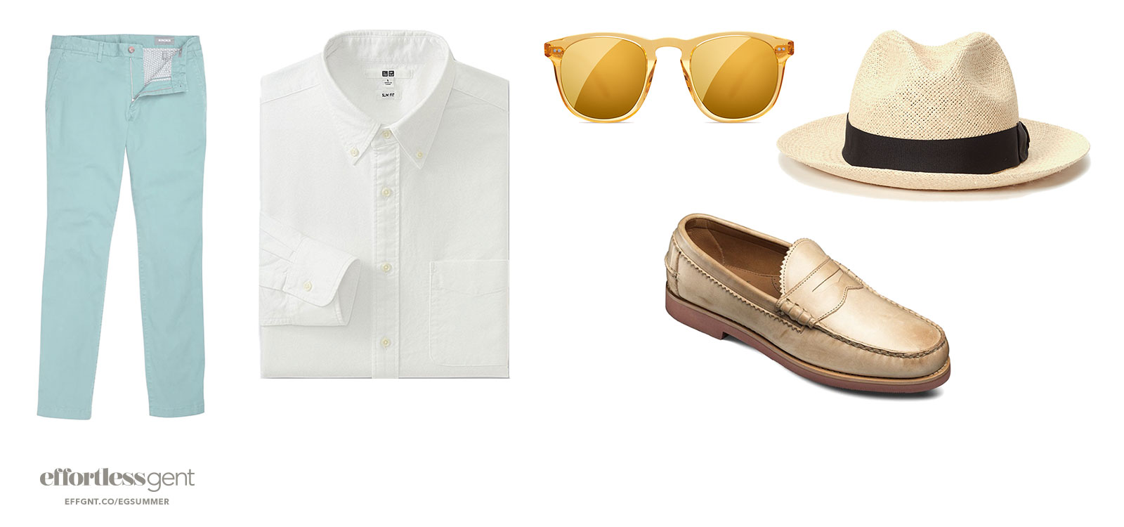 poolside outfit sharp summer clothes with light green pants white shirt loafers sunglasses and fedora