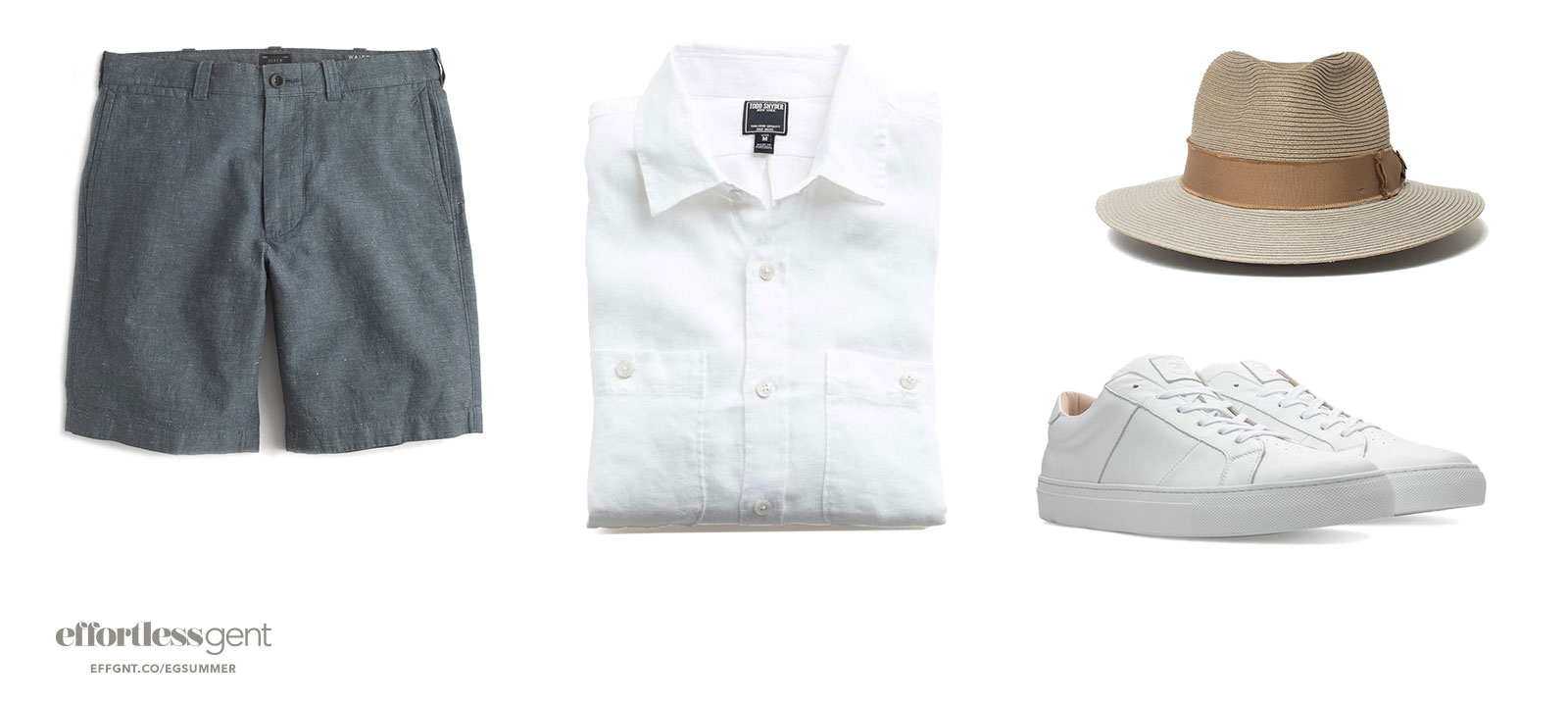 summer outfit with shorts linen shirt sneakers and panama hat