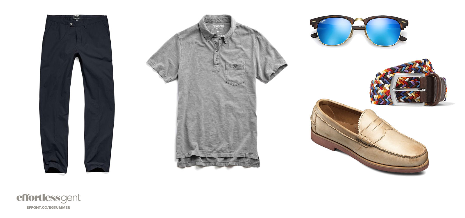 simple mens outfit with dark blue pants and grey polo loafers sunglasses and colorful belt