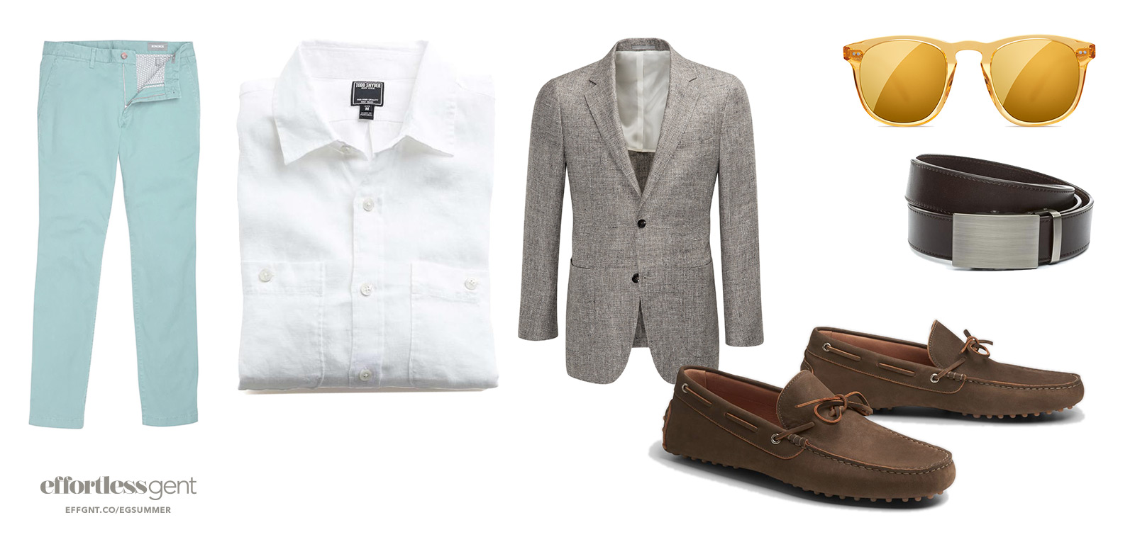 dressy summer outfit for men with light green chinos white shirt and tan sport coat with brown loafers belt and sunglasses