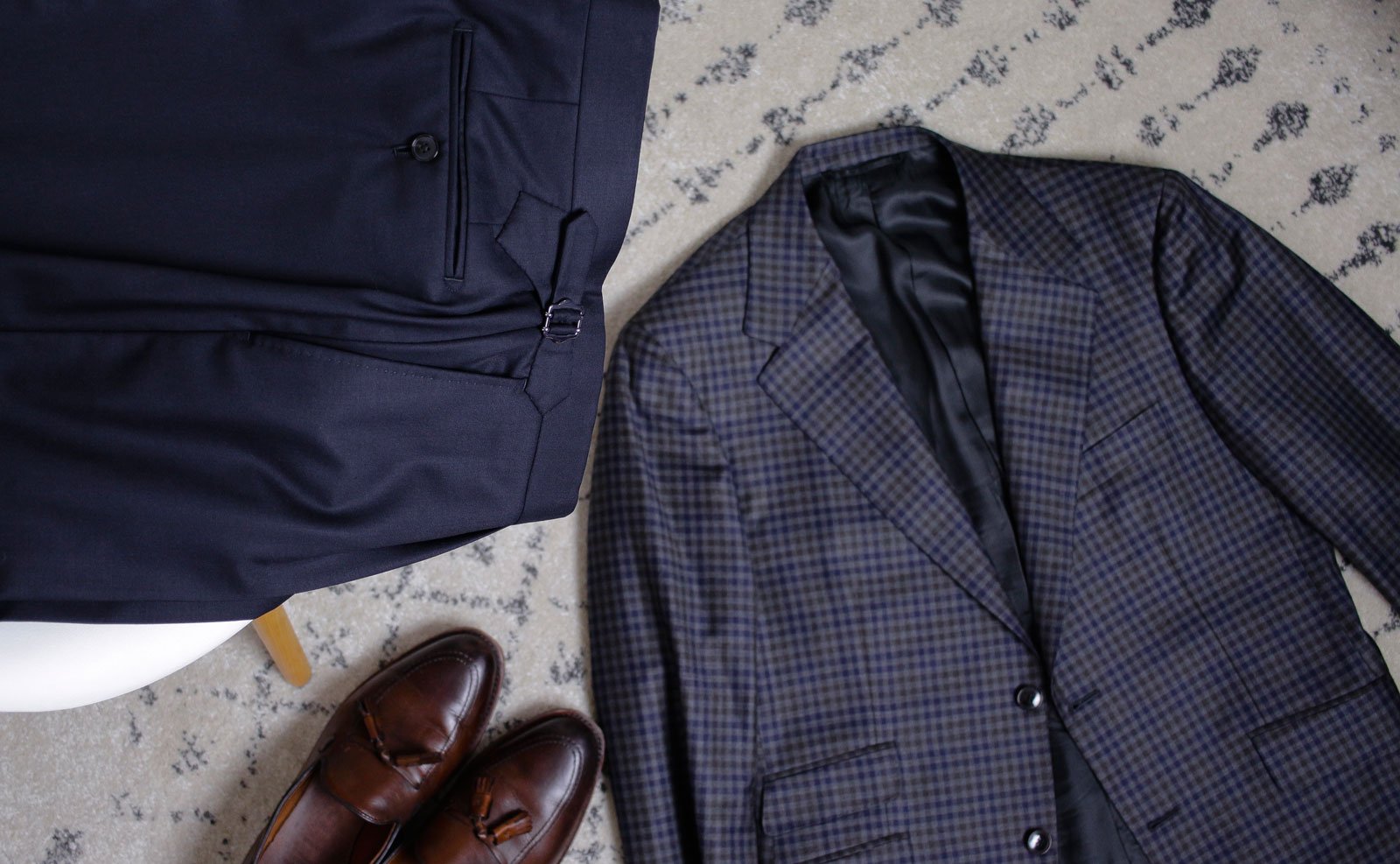 flatlay of jacket and trousers - Custom Showdown: Unboxing the Alan David Custom Jacket and Trousers