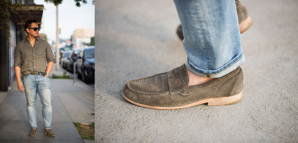 Grey suede penny loafers and light wash denim with a linen shirt, loafers with no show socks
