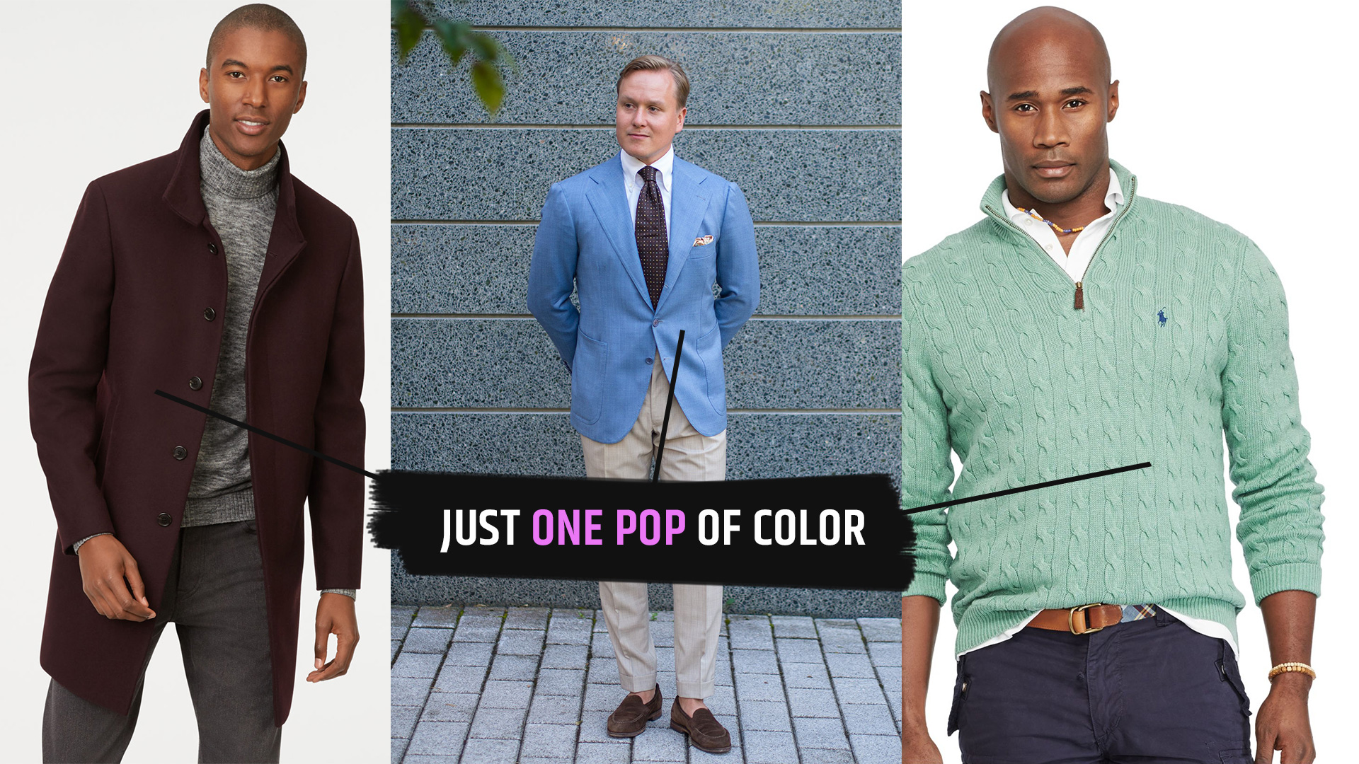 one pop of color with menswear neturals