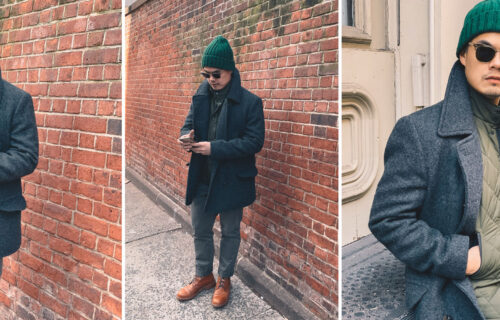green beanie green quilted vest charcoal peacoat chinos and tan boots fall winter outfit