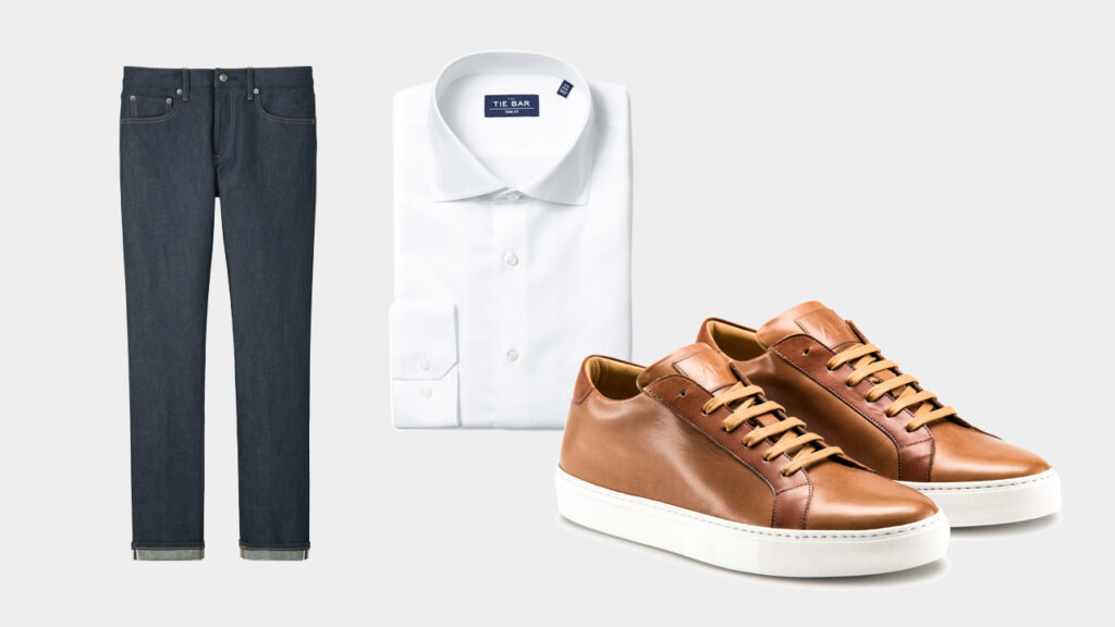 smart sharp casual outfit with Ace Marks brown dress sneakers, dark denim, and white dress shirt