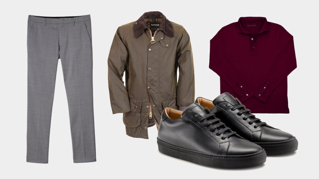 smart sharp casual outfit with Ace Marks black dress sneakers, grey dress trousers, red long sleeve polo, and green waxed jacket