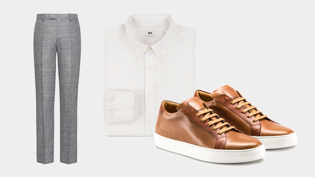 smart sharp casual outfit with Ace Marks brown dress sneakers, grey dress trousers, and white dot dress shirt