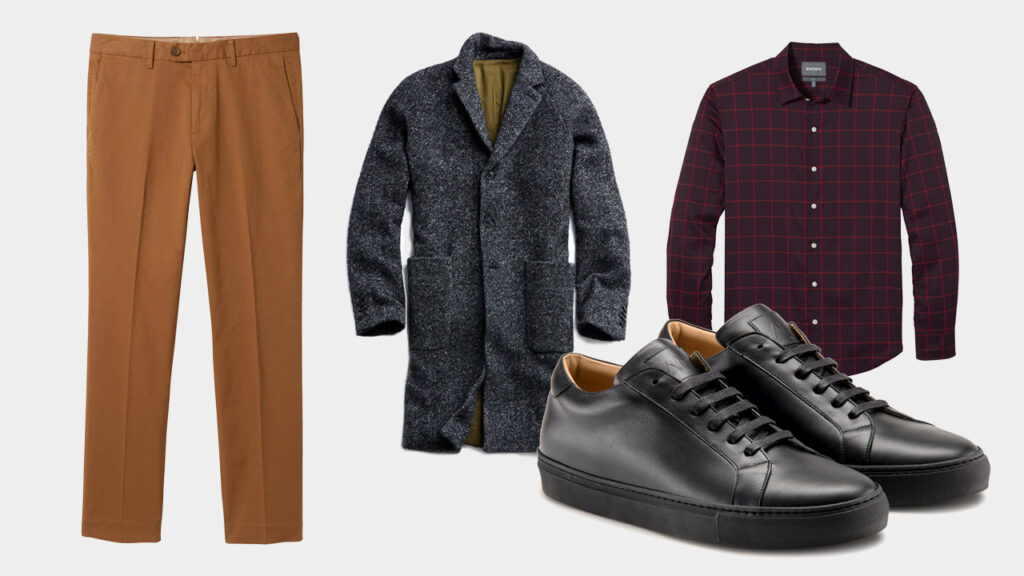 smart sharp casual outfit with Ace Marks black dress sneakers, caramel dark khaki chinos, charcoal gray overcoat, burgundy overcheck shirt