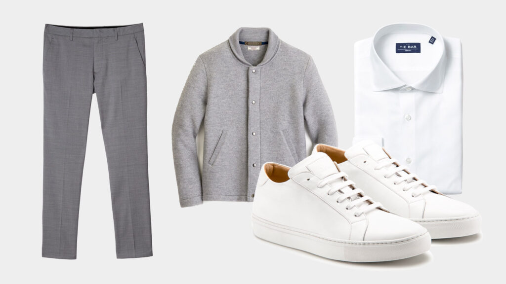 smart sharp casual outfit with Ace Marks white dress sneakers, grey trousers, grey shawl collar jacket, white dress shirt