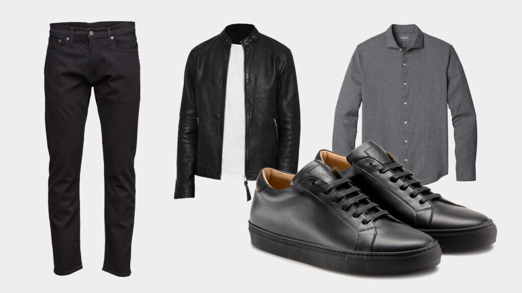 smart sharp casual outfit with Ace Marks black dress sneakers, black jeans, black leather jacket, and grey button down shirt