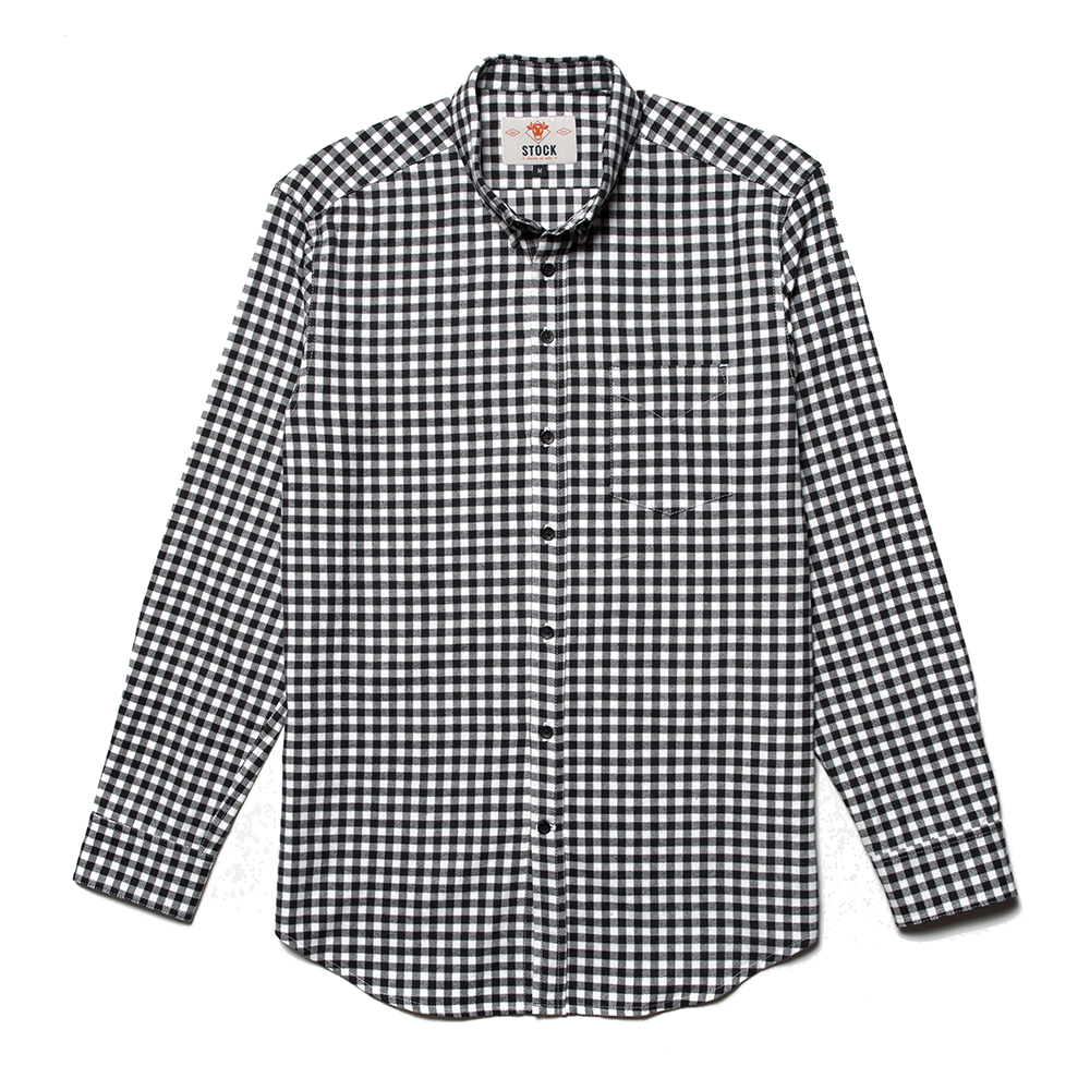 Stock Mfg. Co. Black Gingham Flannel