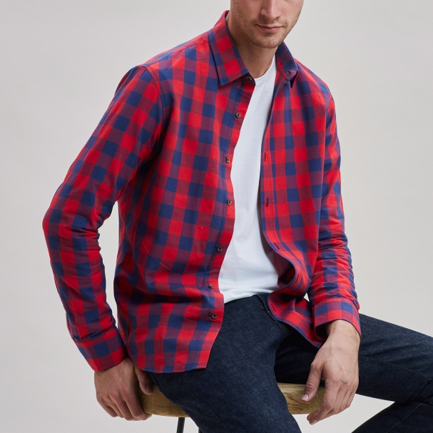 Todd Shelton Buffalo Plaid Chambray Shirt