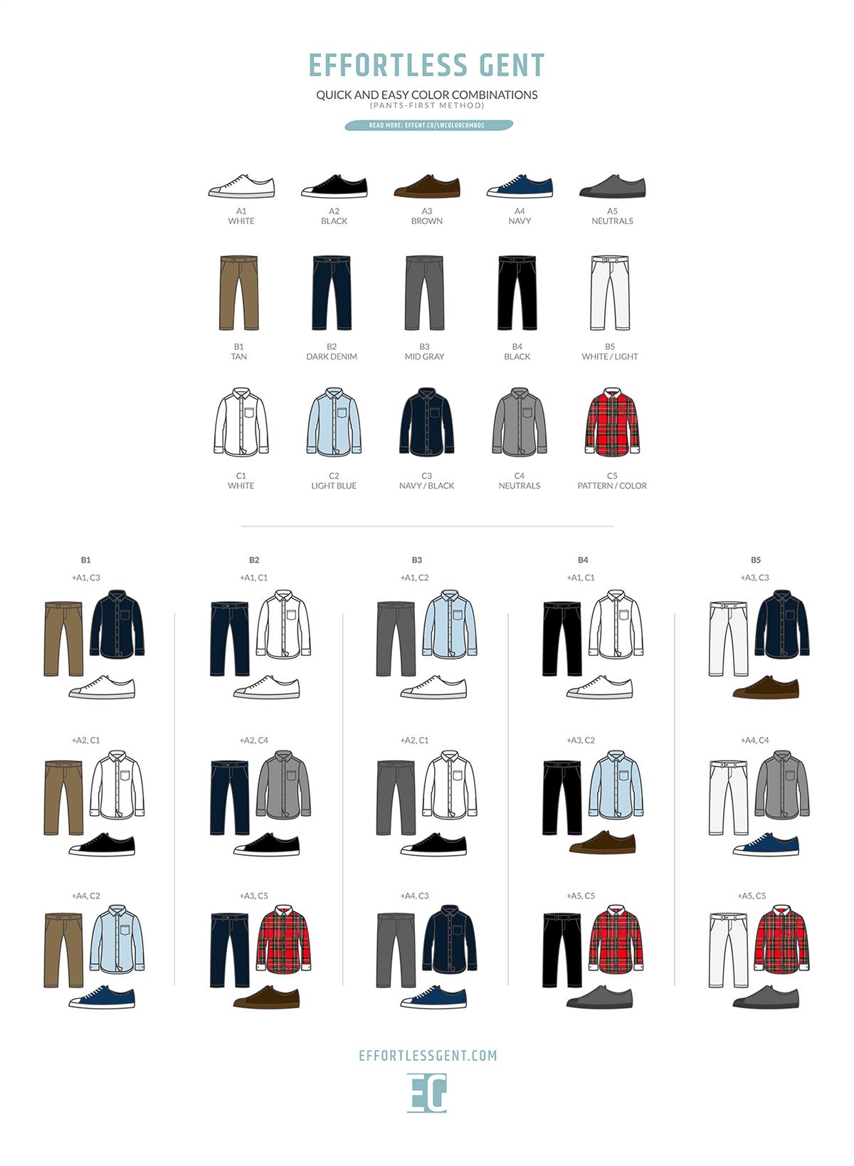 best color combos men's clothing illustration
