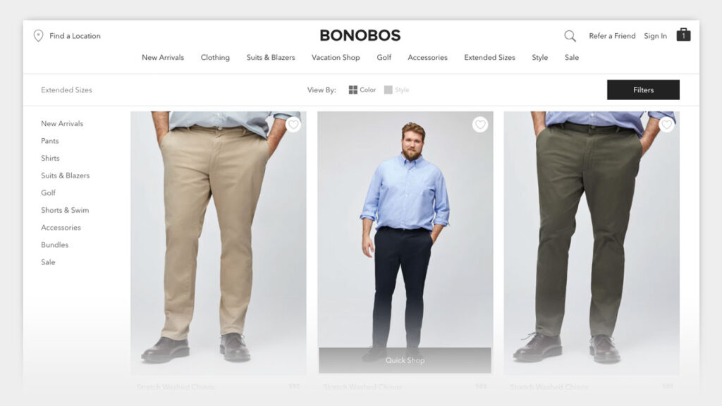 big guys: bonobos extended sizes