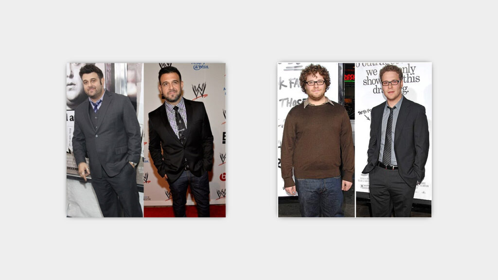 fat to skinny celeb transformations seth rogen adam richman