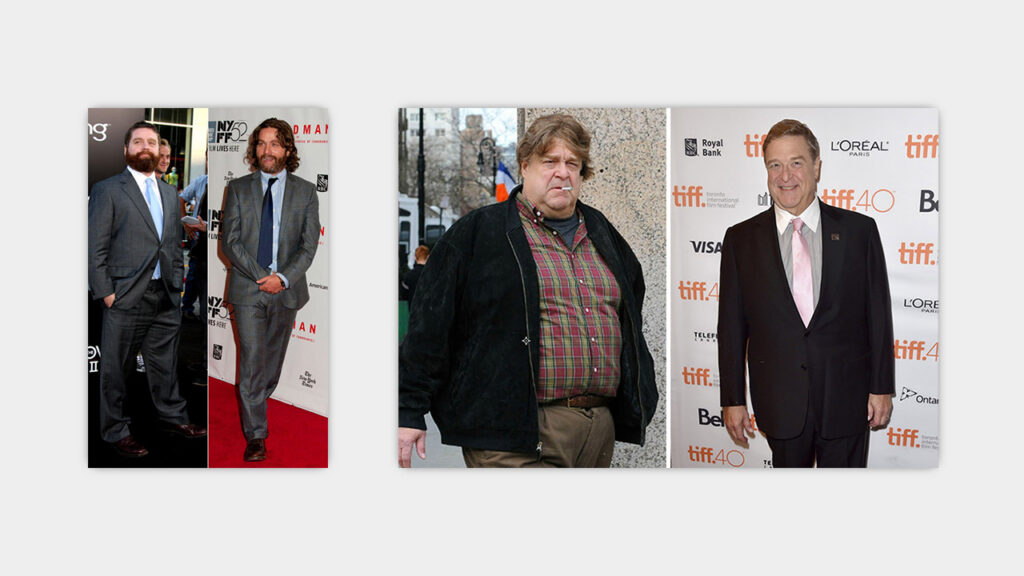 fat to skinny celeb transformations zach galifianakis john goodman