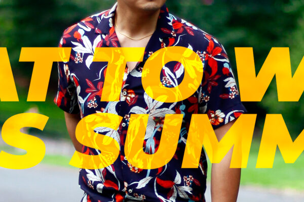 men's floral shirt in the park in summer