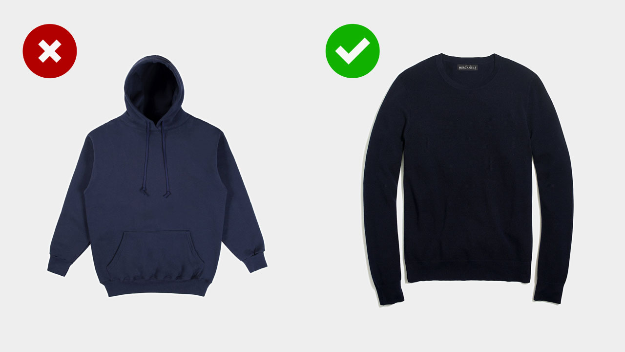 teenage style upgrade -- wearing a navy sweater instead of a navy hoodie